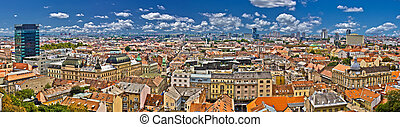 Zagreb lower town colorful panoramic view
