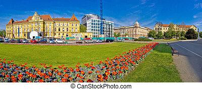 Zagreb Marshal Tito square panorama, flowera and...