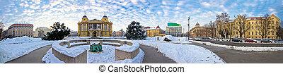Zagreb Marshal Tito square winter panorama, capital od...