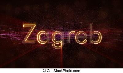Zagreb - Shiny looping city name in Croatia, text animation...