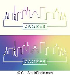Zagreb skyline. Colorful linear style.