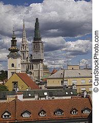 zagreb - Zagreb, Croatia - city view with St Stephen...