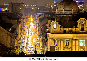 Zagreb street and architecture evening view
