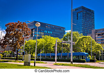 Zagreb tram and modern buildings
