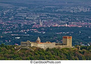 zagreb, y, asombroso, capital, castillo, medvedgrad, croata