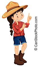 zagroda, chodząc, dziewczyna, koszula, czerwony