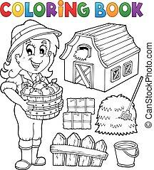 zagroda, dziewczyna, koloryt książka, obiekty