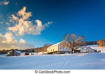 zagroda, hrabstwo, śnieg, pennsylvania., york, wiejski