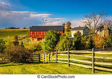 zagroda, hrabstwo, pennsylvania., york, wiejski, czerwona stodoła