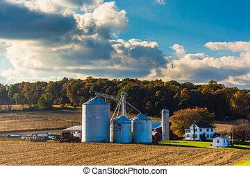 zagroda, hrabstwo, wiejski, york, pennsylvania.