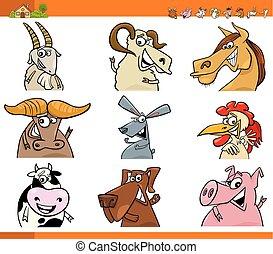 zagroda, komplet, zwierzę, litery, rysunek