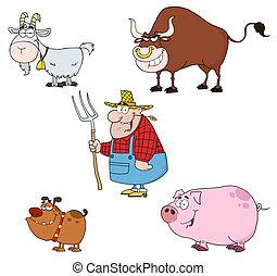 zagroda, komplet, zwierzęta, rolnik