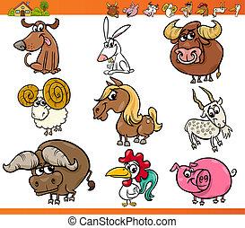 zagroda, komplet, Zwierzęta, rysunek, Ilustracja