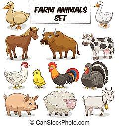 zagroda, komplet, zwierzęta, rysunek, wektor
