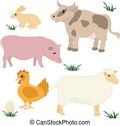 zagroda, komplet, zwierzęta
