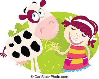 zagroda, mały, dziewczyna, krowa