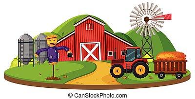 zagroda, scena, czerwona stodoła