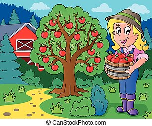 zagroda, skupiony, dziewczyna, jabłka