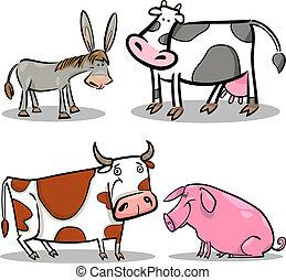 zagroda, sprytny, komplet, zwierzęta, rysunek