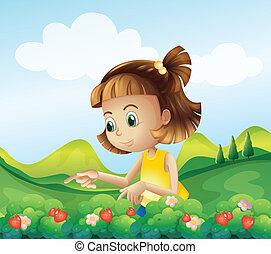 zagroda, truskawka, mała dziewczyna