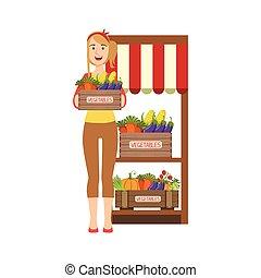 zagroda, warzywa, sprzedajcie, targ, kobieta
