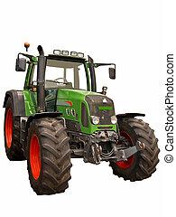 zagroda, zielony, traktor