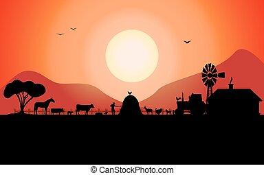 zagroda zwierzęta, rancho, sylwetka, wektor
