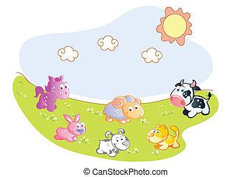 zagroda zwierzęta, w ogrodzie