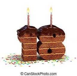 zahl, 18, geformt, schokoladenkuchen