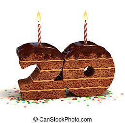 zahl 20, geformt, schokoladenkuchen