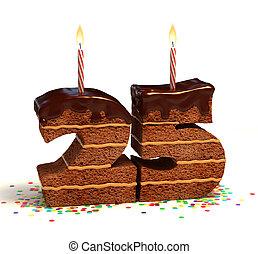 zahl, 25, geformt, schokoladenkuchen
