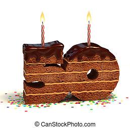 zahl, 50, geformt, schokoladenkuchen