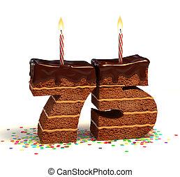 zahl, 75, geformt, schokoladenkuchen