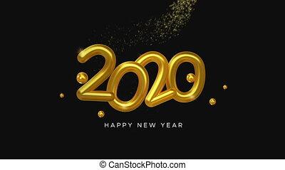 zahl, gold stern, jahreswechsel, 2020, spur, 3d, karte