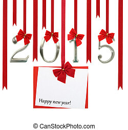 zahl, grüßen karte, hängender , 2015, bänder, weihnachten, rotes