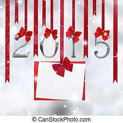 zahl, grüßen karte, verzierungen, hängender , 2015, bänder, rotes