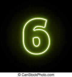 zahl, schwarz, 6, neon