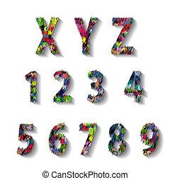 Zahlen,  Alphabet, kirmes, Mehrfarbig