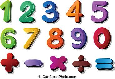zahlen, und, mathe, symbole