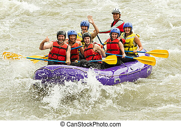 zahlreich, familie, auf, whitewater rafting, reise