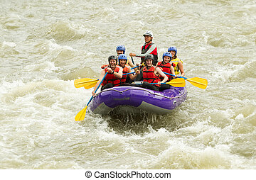 zahlreich, whitewater rafting, reise, familie