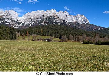 """Zahmer Kaiser"" mountains in Tyrol, Austria, in autumn"