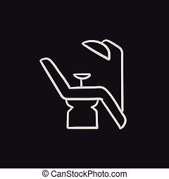 zahnärztlicher stuhl, icon., skizze