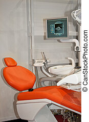 zahnärztlicher stuhl, monitor