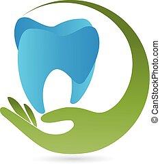 zahn, dente, logotipo, mano