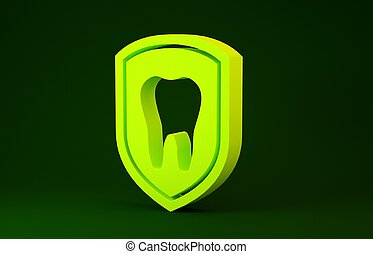 zahn, gelber , concept., render, abbildung, 3d, schutz, dental, grün, icon., ikone, freigestellt, schutzschirm, hintergrund., logo, minimalismus
