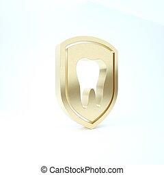 zahn, ikone, render, hintergrund., dental, schutz, logo, 3d, schutzschirm, abbildung, freigestellt, gold, icon., weißes