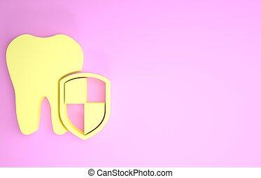 zahn, ikone, schutzschirm, render, dental, freigestellt, schutz, minimalismus, gelber , abbildung, concept., hintergrund., rosa, logo., 3d