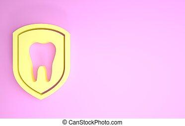 zahn, ikone, schutzschirm, render, dental, icon., freigestellt, schutz, minimalismus, logo, gelber , abbildung, concept., hintergrund., rosa, 3d