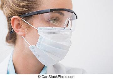 zahnarzt, chirurgisch, schützende gläser, maske